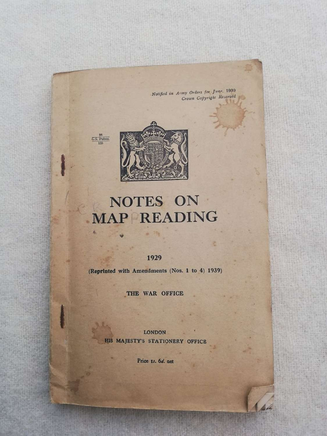 1929 Notes on Map Reading Training Manual 1940
