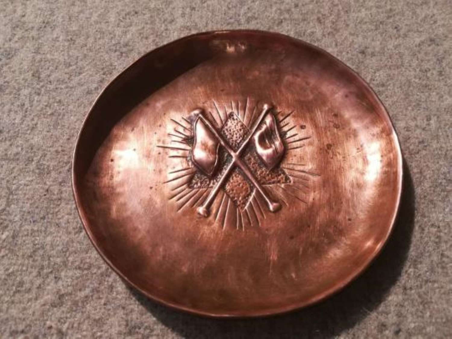 Great War Period Signaller Copper Trench Art Ashtray