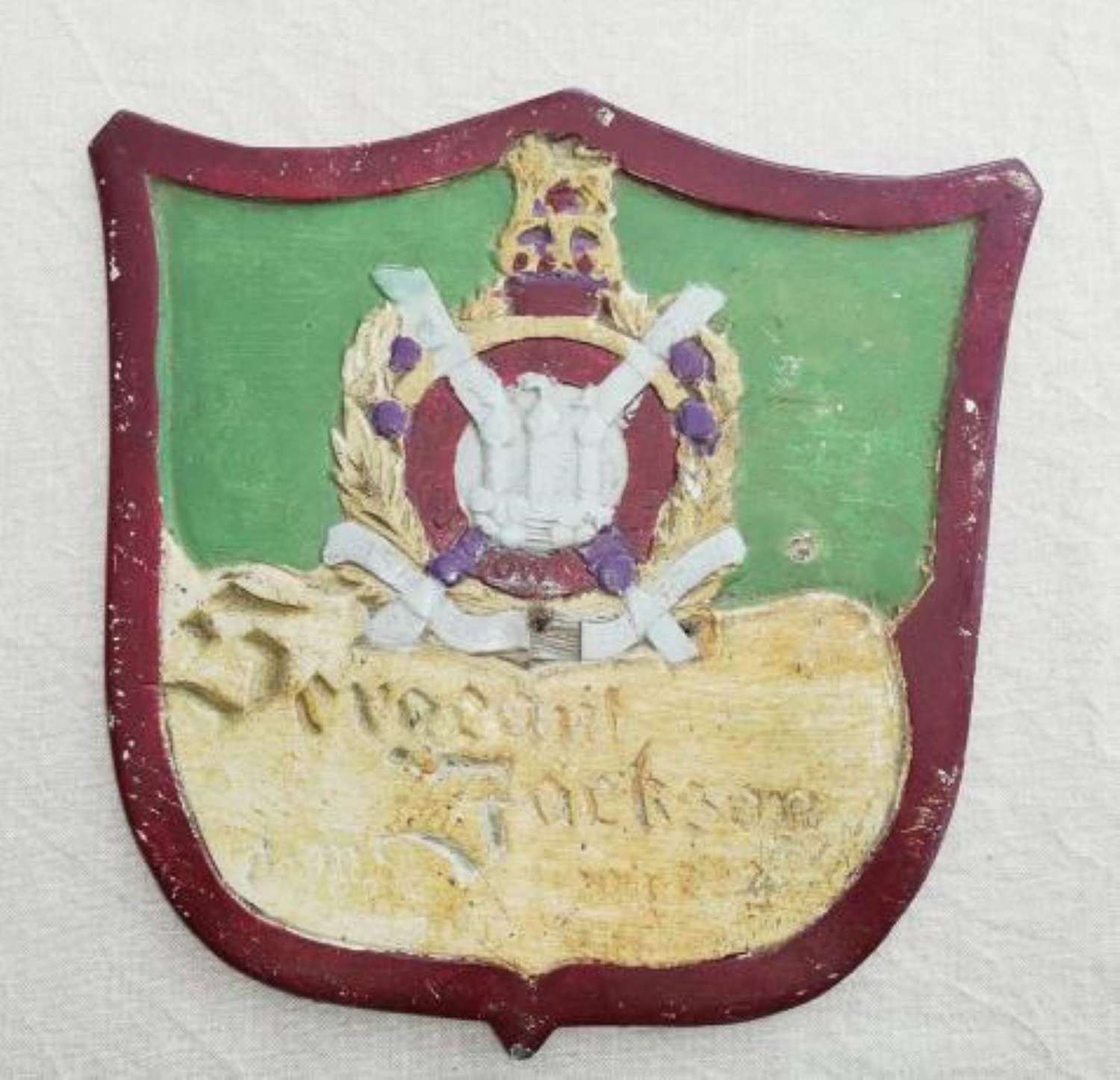 KOSB POW Wooden Hand Carved Wall Plaque C.1945