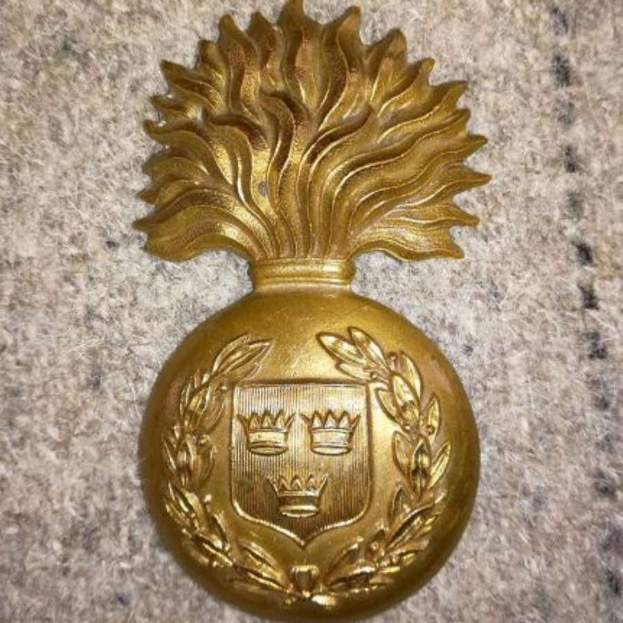 Royal Munster Fusiliers Brass Bearskin Cap Badge C.1898-1922