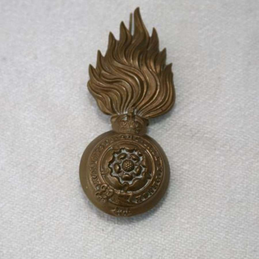 Royal Fusiliers K.C Brass Bearskin Badge