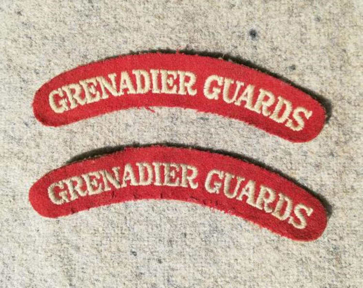 Matching Pair of Grenadier Guards Cloth Shoulder Titles