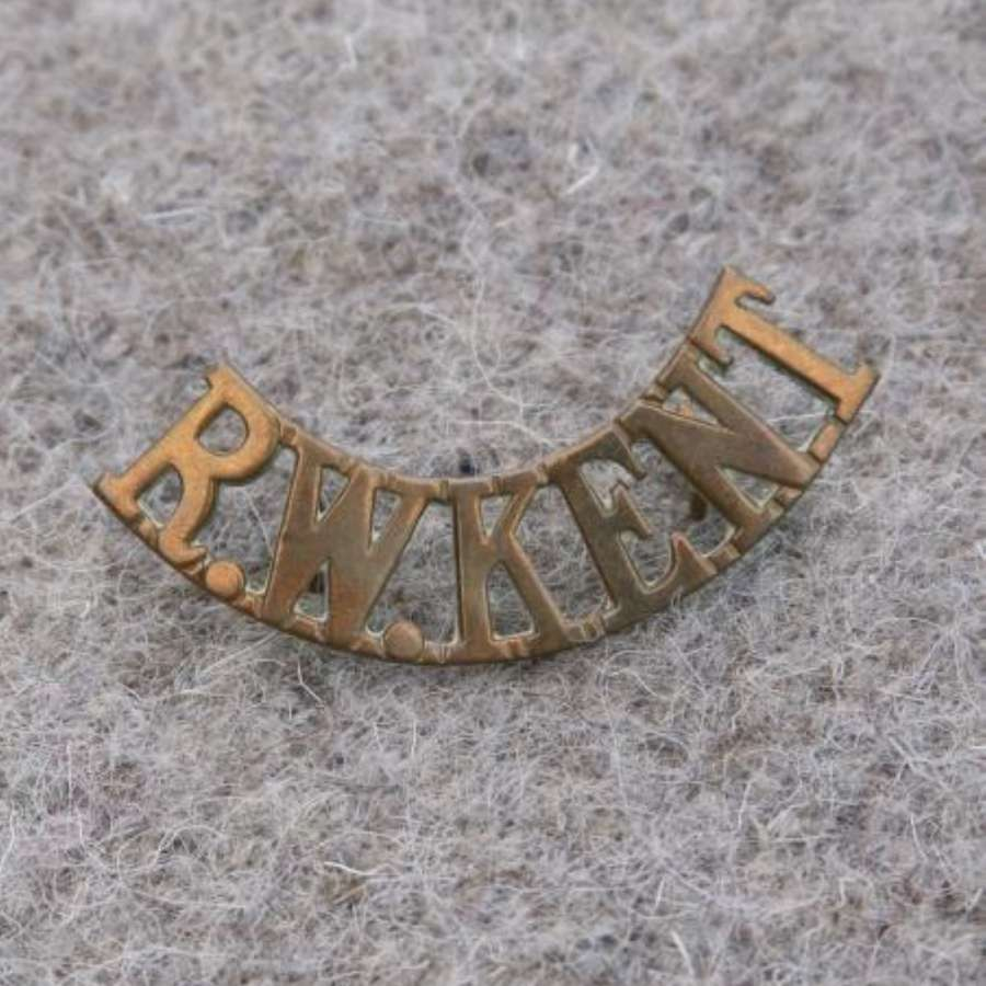 Single Royal West Kent Regiment Brass Shoulder Title