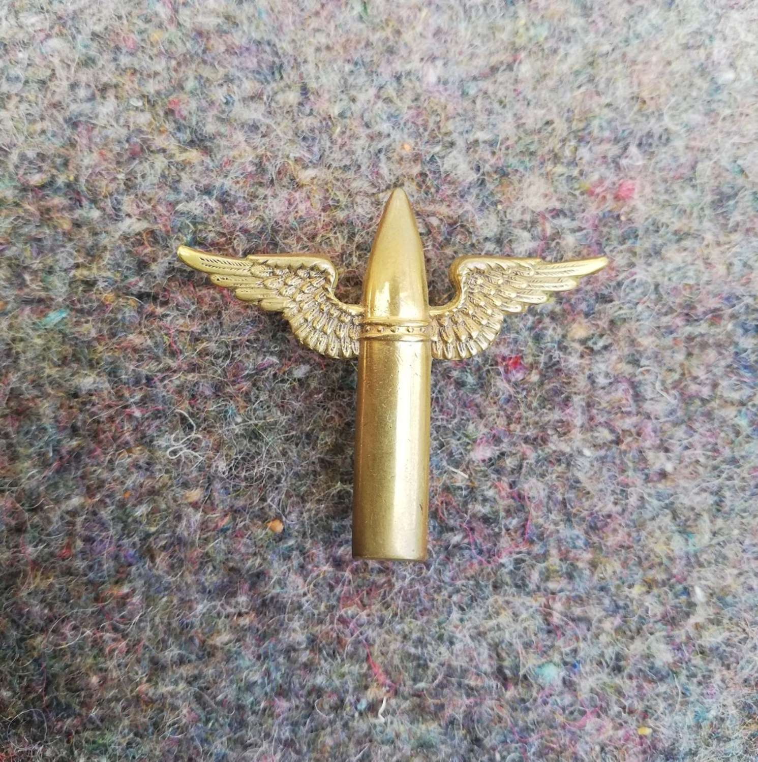 RAF Air Gunner Brass Winged Bullet Badge