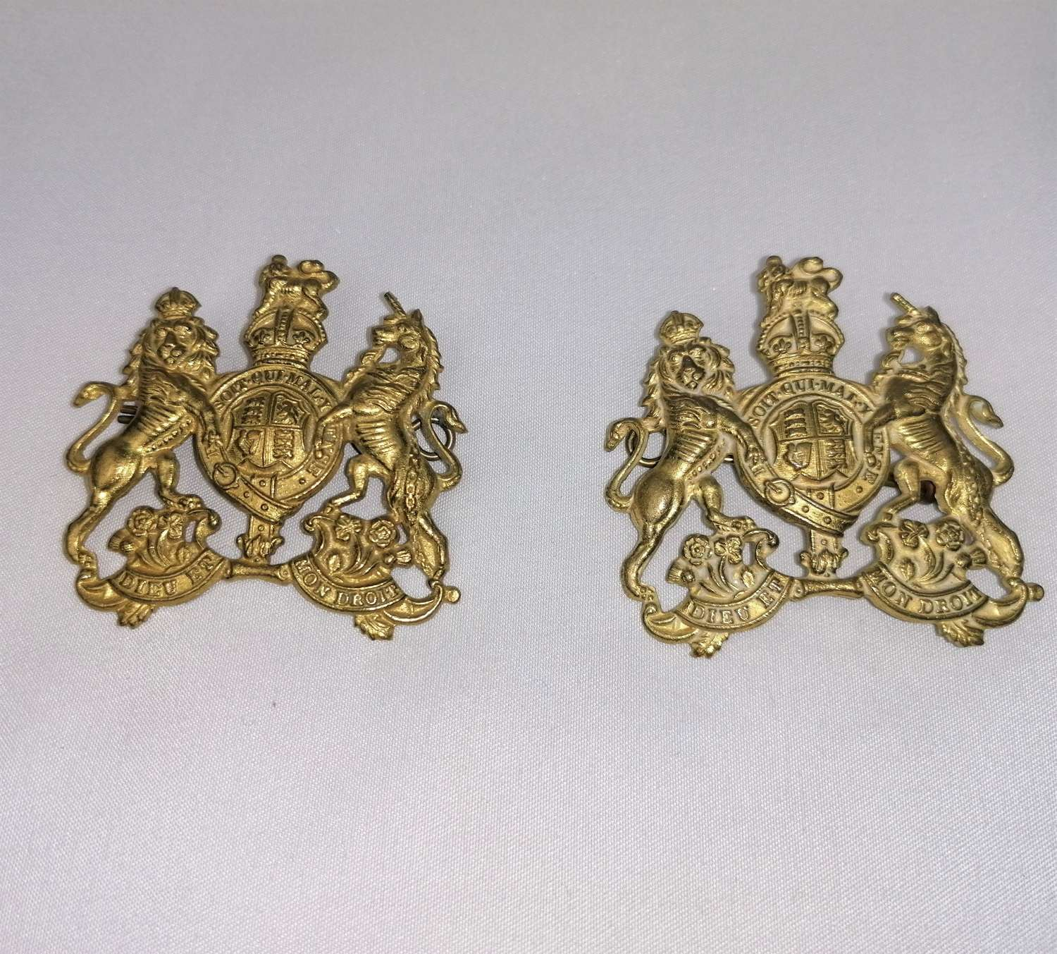 British RSM Warrant Officer Gilt Brass Sleeve Badges